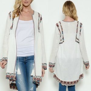 Esley Collection White Boho Lightweight Cardigan